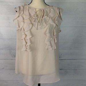 Rebecca Taylor Ruffled sleeveless top blouse